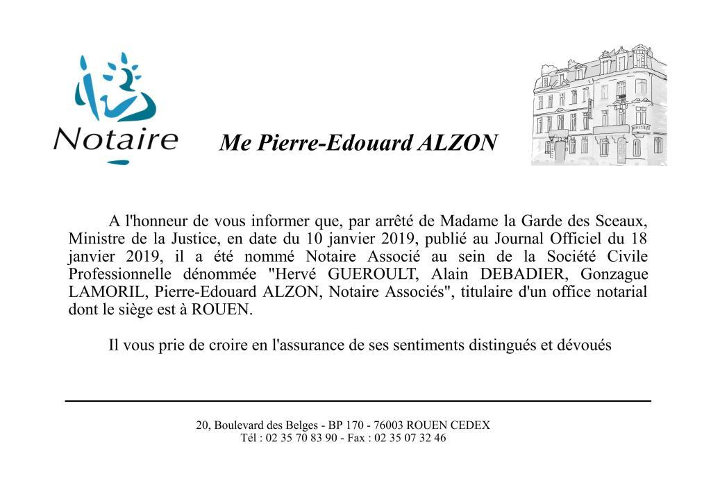 Nomination Pierre-Edouard ALZON